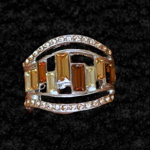 Treasure Chest Charm Topaz and Brown Ring